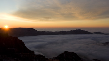 Dawn cloud inversion from tent pitch on Harter Fell