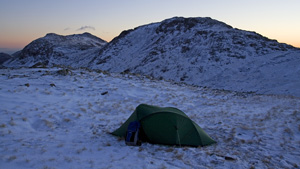 Winter pitch on Allen Crags