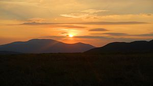 Dawn sky from pitch on Ladyside Pike